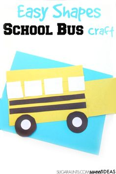 Easy Shapes School Bus Craft is part of Shape School crafts This school bus craft is great for preschoolers and toddlers as they identify shapes and build a bus, perfect for back to school prep! School Bus Crafts, Back To School Crafts, School Projects, School Ot, Art Projects, School Buses, Classroom Projects, Daycare Crafts, Toddler Crafts