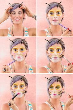 Follow this Halloween makeup tutorial to bring the Snapchat bee filter to life.