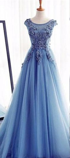 Appliques Lace Up Capped Sleeves A-line Tulle Prom Dresses 2017