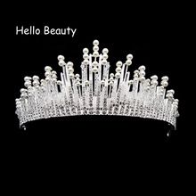 Silver Color Large Vintage Crystal Bridal Tiaras Crowns Rhinestone Pageant Bride Hair Accessories Pearl Beads Wedding Crown(China)