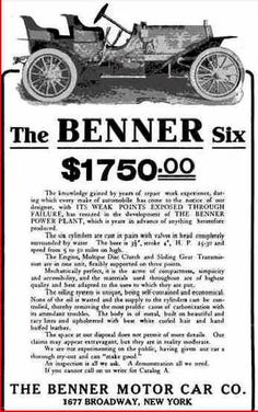 1909 Benner Automobile Advertisement