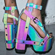 Nightcall Reflective Platform Heels cuz we''re gettin' strappy, bae… Unique Shoes, Cute Shoes, Me Too Shoes, Dream Shoes, Crazy Shoes, Pastel Goth Fashion, Ankle Strap Shoes, Platform High Heels, Sandals Platform