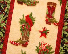 Cowboy Boots Christmas Wall Hanging by susiquilts on Etsy, $42.00