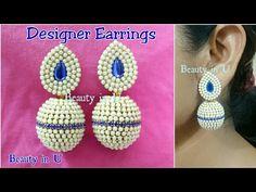 How to make Designer Bridal Silk Thread Earrings at Home | Tutorial - YouTube