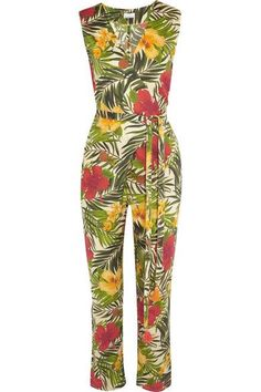 Miguelina's 'Alexa' jumpsuit is perfect for balmy summer days. Cut from airy cotton-voile in a flattering wrap-effect silhouette, it's printed with bold tropical flowers and palm leaves, and has waist-cinching ties. Wear yours to lunches at the beach with sandals and a hat.