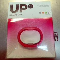 UP 24 by jawbone Coral red, UP 24 by jawbone wireless Bluetooth tracker. tracks your sleep, activity, steps, and meals. Links wirelessly with the free UP app. In original package never used with charger. Jawbone Jewelry Bracelets