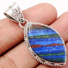 Rainbow Calsilica 925 Sterling Silver Pendant Jewelry RBCP587 - JJDesignerJewelry