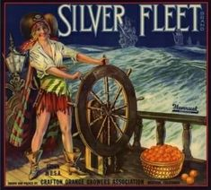 size: Art Print: Silver Fleet Brand - Mentone, California - Citrus Crate Label by Lantern Press : Travel Antique Illustration, Illustration Art, Illustrations, Stock Art, Fruit Art, Vintage Labels, Vintage Advertisements, Ads, Ephemera