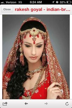 Long curly indian wedding  hairstyle