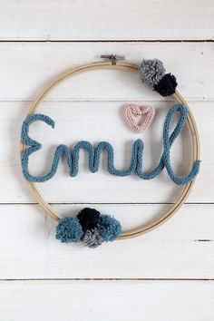 Strickliesel Ideas: Making a nursery wall decoration yourself is with this knitwear . - - Strickliesel Ideas: Making a nursery wall decoration yourself is easy with this Strickliesel DIY. The Strickliesel font is formed with wire into a Stricklies Decoration Bedroom, Nursery Wall Decor, Diy Wall Decor, Wall Decorations, Diy Kids Room, Diy For Kids, Baby Room Boy, Diy Cans, Wall Ornaments