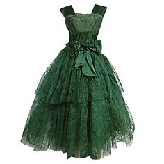 50s Kelly Green Silk Chantilly Lace and Satin Tea Length Gown | From a collection of rare vintage evening dresses at https://www.1stdibs.com/fashion/clothing/evening-dresses/