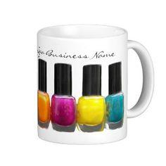 Colorful Nail Polish Bottles, Nail Salon Coffee Mug Colorful Nail, Coffee Mugs With Logo, Create Your Own Mug, Wedding Mugs, How To Order Coffee, Cheap Shopping, Nail Polish Bottles, Personalized Mugs, Coffee Travel