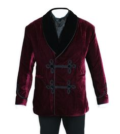 An Historical Emporium exclusive! So little time, so many leisure opportunities! Our burgundy velvet Vintage Smoking Jacket is the proper choice in Victorian dress for a gentleman's discretionary after-dinner pursuits.Offered in several colors.