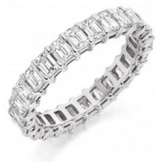 Platinum 3.00ct emerald cut diamond full eternity ring.