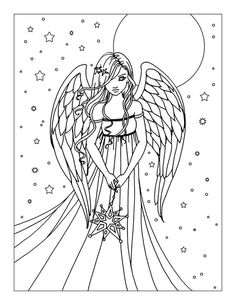 Free Angel Coloring Page by Molly Harrison Fantasy Art | Molly ...
