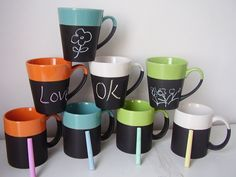 chalk mugs - so fun!
