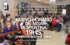 Hoy la Misa vespertina cambia de horario en #SVDP #Mataderos: 19hs. Te esperamos! (y Jesús tmbn!)