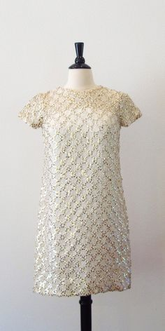 60s Sequin Dress / White and Gold