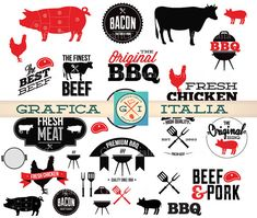BBQ Barbeque Clipart Elements  Digital Download Barbecue Clip Art Scrapbooking Supplies, DIY BBQ Party Invitation Art by graficaitalia