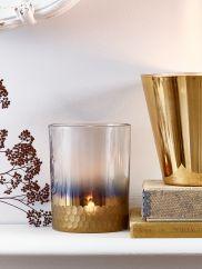 NEW Etched Gold Tea Light Holder