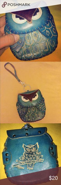 Small Owl Wristlet Hand stitched owl wristlet 4 inches long by 4.5 inches wide. Turquoise with light & dark brown stitching. Small rope fits on wrist and inside would fit small necessities like money, keys & lipgloss! Does not fit an iPhone 6. Excellent condition Bags Clutches & Wristlets