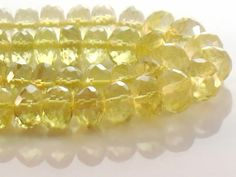 Lemon Quartz Beads Faceted Rondelle 7mm AAA by JewelryQuestDesign, $24.99