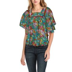 Green Floral Poncho Top for Girls