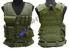 CONDOR CV Crossdraw Assault Tactical Vest Chest Rig w/MOLLE OD Green   eBay