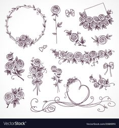 Set of floral design elements. Floral Embroidery Patterns, Embroidery Art, Flower Patterns, Embroidery Stitches, Embroidery Designs, Illustration Vector, Illustrations, Valentines Day Drawing, Hand Tattoos