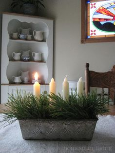 love the old bread pan. Would love to do this with advent candles!!!!