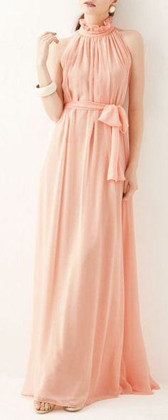 Coral Chiffon Maxi Dress ♥ UGH. This is BEAUTIFUL.