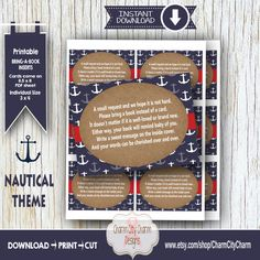 Nautical Bring a Book Inserts Nautical Baby by charmcitycharm