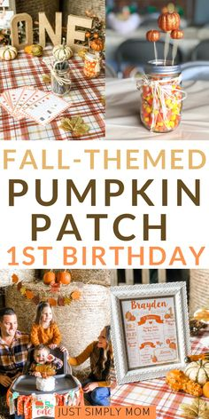 Pumpkin Patch Birthday Bash for a Fall-Themed Birthday Party - Just Simply Mom A fall themed birthday party isn't complete without a pumpkin patch, hayride, scare crows, and candy corn. This birthday had it all in the details too. Fall First Birthday, Boys First Birthday Party Ideas, Pumpkin First Birthday, First Birthday Party Themes, Birthday Themes For Boys, 1st Boy Birthday, Boy Birthday Parties, Fall Party Themes, Birthday Crafts
