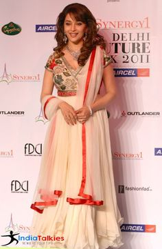 Buy Madhuri Dixit Off White Anarkali suit @ LooksGud.in