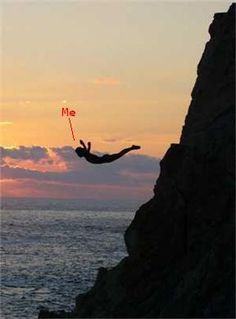 Jump off a cliff into a natural body of water in an exotic location
