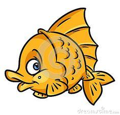 Cartoon Illustrations Animal Drawings Gold Fish Illustration Isolated Image Character