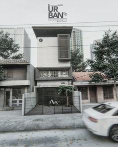 Konsep rumah Compact ukuran tanah 5 x 15 __________________________________________ K A R Y A S T U D I O 9 9 work with the heart… Minimalist Architecture, Modern Architecture House, Modern House Design, Minimalist Design, Exterior Rendering, Exterior Design, Street House, Villa Design, House Front