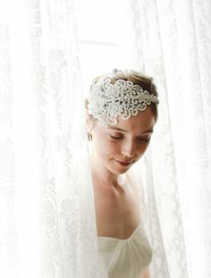 Lace wedding headband, bridal headband,wedding headband, wedding lace hair - style 221