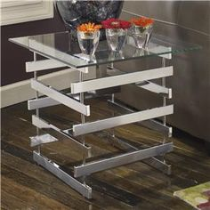 Frandelli Modern Metal Square End Table with Clear Tempered Glass Top by Signature Design by Ashley  Retail Price: $218.00 NEFD Price: $100.00