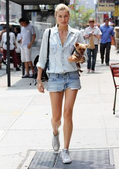 Jessica Hart : street style : blue casual shirt and denim shorts