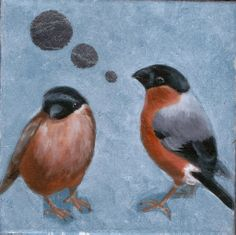 Summer Bullfinch, Mixed media painting by Crowdog