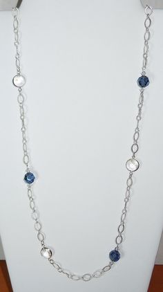 Swarovski Beaded Long Silver Chain Necklace in by BestBuyDesigns