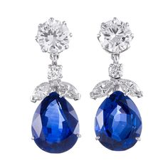 Important No Heat Sapphire Diamond Earrings | From a unique collection of vintage drop earrings at http://www.1stdibs.com/jewelry/earrings/drop-earrings/