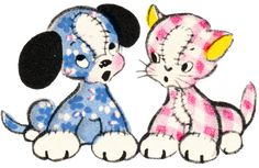 Free Vintage Clip Art – Adorable Puppy and Kitty Duo