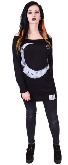 Women's Black Lightweight Sweatshirt Dress - Moon - Alternative Streetwear & Street Style from Bear Knuckle Brawlers