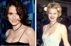 Drew & Winona....90s choker Love The 90s, Teenage Wasteland, Brittany Murphy, Drew Barrymore, Winona Ryder, 90s Fashion, New Look, Amy, Nostalgia