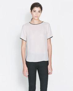 BLUSA VIVO CONTRASTE - Camisas - Mujer   ZARA España