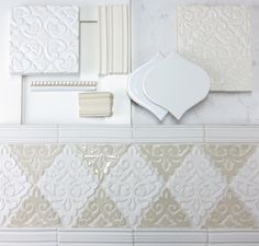 Neutral Design Inspiration Concept Featuring White and Cream Glaze Colors, Two-Tone Decorative Patterns, Trim and Lantern Field Shapes, White Cabinets and Granite Countertops White Tile Backsplash, White Bathroom Tiles, French Country Kitchens, French Country Decorating, Country Bathrooms, White Shaker Cabinets, Cabinets And Countertops, Handmade Tiles, Tile Design