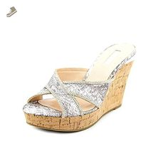 Guess Eleonora Women US 8.5 Silver Wedge Sandal - Guess pumps for women (*Amazon Partner-Link)