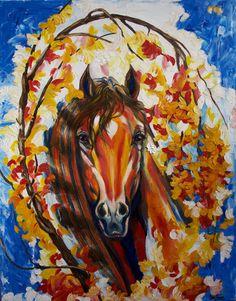 Horse art oil on canvas Original painting wild by YelenaArtlook
